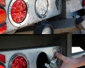 "Round LED Truck and Trailer Lights - 4"" LED Brake/Turn/Tail Lights w/ 12 High Flux LEDs - 3-Pin Connector: LED Light Being Installed On Tow Truck"