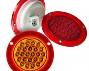 """Round LED Truck Trailer Light with Built In Reflectorized Flange - 5.5"""" LED Stop Turn Tail Light with 24 LEDs: Available In Red, White, & Amber"""