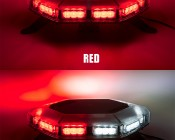 Emergency LED Light Bar - 360 Degree Strobing LED Mini Light Bar: On Showing Beam Pattern In Red & Red Plus White.