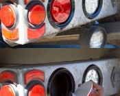 """Round LED Truck and Trailer Lights - 4"""" LED Brake/Turn/Tail Lights w/ 10 High Flux LEDs - 3-Pin Connector: LED Light being Installed On Tow Truck"""