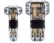 """Clear 24-18 AWG """"T"""" Tap Wire Splice Connectors - Single, Dual Channel: Front View"""