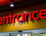 Supermarket Entrance Sign Highlighted with Par38 LED Light Bulb