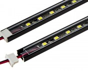 Klus B1888_K7 - MICRO-ALU series Surface Mount Black Anodized Aluminum LED Profile Housing: Assembled With LED Light Strip