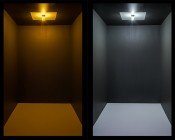 7443 Switchback LED Bulb - Dual Intensity 60 SMD LED Tower: Turned On In Box Showing Light Showing Mode Comparison