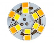 7443 Switchback LED Bulb - Dual Function 60 SMD LED Tower - A Type - Wedge Retrofit: Front View