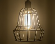LED Vintage Light Bulb - T14 Shape - Radio Style LED Bulb with Filament LED: Installed in Decorative Cage Fixture