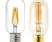 LED Vintage Light Bulb - T14 Shape - Radio Style LED Bulb with Filament LED: Profile View with Size Comparison to Incandescent Bulb