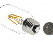LED Vintage Light Bulb - T14 Shape - Radio Style LED Bulb with Filament LED: Back View With Size Comparison