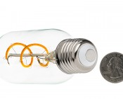 Flexible Filament LED Bulb - T14 Carbon Filament Style Bulb - 25 Watt Equivalent - Spiral Loop - Dimmable: Back View with Size Comparison