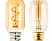 Flexible Filament LED Bulb - T14 Carbon Filament Style Bulb w/ Gold Tint - 15 Watt Equivalent - Spiral Loop - Dimmable: Size Comparison to Incandescent Bulb