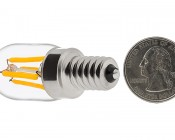 T22 LED Filament Bulb - 20 Watt Equivalent Candelabra LED Vintage Light Bulb - Radio Style - Dimmable: Back View with Size Comparison