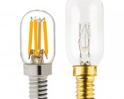 T22 LED Filament Bulb - 20 Watt Equivalent Candelabra LED Vintage Light Bulb - Radio Style - Dimmable: Profile View with Size Comparison to Incandescent Bulb