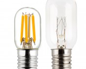 T22 LED Replacement Bulb for WB36X10003 and other Microwave Light Bulbs: Profile View with Size Comparison to Incandescent Bulb
