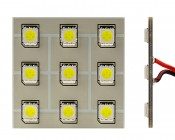T3.25 LED Bulb - 9 SMD LED PCB Lamp - Miniature Wedge Retrofit: Front and Profile View