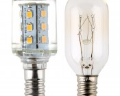 Candelabra LED Bulb, 21 High Power LEDs: Profile View with Size Comparison to Incandescent Bulb
