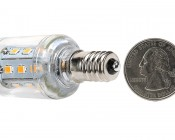 Candelabra LED Bulb, 21 High Power LEDs: Back View with Size Comparison