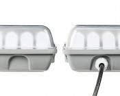 T8 LED Vapor Proof Light Fixture with 4 T8 Tubes - Industrial LED Light - 4' Long: Profile View