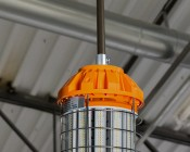 125 Watt Temporary LED Job Site Light w/ Power Cord and Safety Hook - 4000K - 13,700 Lumens: Conduit Mount