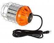 80 Watt Temporary LED Job Site Light w/ Power Cord and Safety Hook - 4000K - 8,500 Lumens: Back View