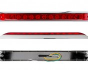 """Light Bar LED Truck and Trailer Light - 19"""" LED Brake and Turn Light Bar w/ 11 High Flux LEDs and Chrome Bezel - Pigtail Connector: Front View, Profile View, And Back View Shown"""