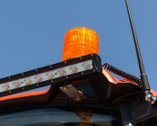 """6-3/4"""" Amber LED Strobe Light Beacon with 15 LEDs - Magnetic Base: Installed on Tractor"""