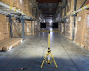 Portable Work Light Tripod Stand w/ Flat T-Bar: Shown With High Voltage 30W Flood Lights (Flood Lights Sold Separately)