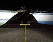 "LED Work Light - 5-1/4"" Square - 27W: Shown Installed On Tripod And Lighting Boats In Dry Dock."