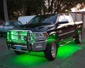 Waterproof LED Light Strips with Multicolor LEDs - Outdoor LED Tape Light with 18 SMDs/ft. - 3 Chip RGB SMD LED 5050: Customer Installed on Dodge Ram Truck as Grille & Intake  and Under Glow Accent Lighting. Thanks Donald for sending us your image!
