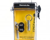 TU285 NEBO NanoLite LED Keychain Flashlight: Shown With Included Weatherproof Case And Extra Batteries.