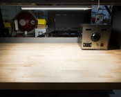 """Dimmable Under Cabinet LED Lighting Fixture w/ Rocker Switch - 22"""" - 800 Lumens: Installed on Work Bench"""