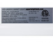 """Dimmable Under Cabinet LED Lighting Fixture w/ Rocker Switch - 22"""" - 800 Lumens: Close Up of Label"""