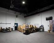 150 Watt UFO LED High Bay Light - 17,000 Lumens: Installed in Warehouse Ceiling Showing Light Output