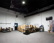 200 Watt UFO LED High Bay Light - 22,000 Lumens: Installed in Warehouse Ceiling Showing Light Output
