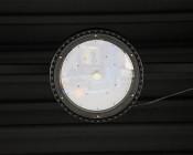 200 Watt UFO LED High Bay Light - 22,000 Lumens: Looking Up at Light Installed on Warehouse Ceiling