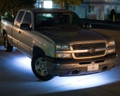 Under Glow LED Lighting Kit - Multi-Strip Remote Activated RGB Color Changing Kit: Shown Installed Under Truck In Cool White.