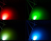 LED Underwater Boat Lights and Dock Lights - Triple Lens - 180W: Shown Installed On Dock In Red, Green, White, And Blue. Note Green Hue On White Version (Bottom Left) Is Due To Water Color.
