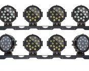 "Universal Multi-Light Adapter Bar for 50"" Straight LED Light Bar Brackets - 4 Mounts for Work and Auxiliary Lights: Shown With 6"" Round Heavy Duty Work Light  WL-51W-Rx Installed (Sold Separately)."