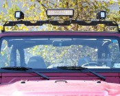 "Universal Multi-Light Adapter Bar for 50"" Straight LED Light Bar Brackets - 4 Mounts for Work and Auxiliary Lights: Shown Installed On Jeep With Titan Series Light Bar And Mini AUX LED Lights."