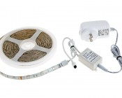 Universal Waterproof RGB LED Light Strip Kits - LED Tape Light with 9 SMDs/ft., 3 Chip RGB SMD LED 5050: Connected to IR Controller & Power Supply