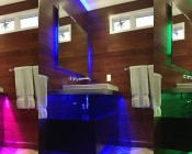 Universal Waterproof RGB LED Light Strip Kits - LED Tape Light with 9 SMDs/ft., 3 Chip RGB SMD LED 5050: Shown Installed Under Bathroom Sink.