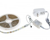Universal Waterproof LED Light Strip Full Kits - LED Tape Light with 9 SMDs/ft., 3 Chip White SMD LED 5050: Connected to IR Controller & Power Supply