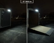 "Trailer/RV Exterior LED Flood Lights - 180 Watt Equivalent - 1,800 Lumens: 13"" Light Installed on Enclosed Trailer"