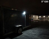 "Trailer/RV Exterior LED Flood Lights - 180 Watt Equivalent - 1,800 Lumens: 5"" Light Installed on Enclosed Trailer"