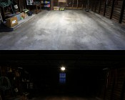 60W Vapor Tight Light Fixture - Industrial LED Light - 4' Long: Shown Installed In Garage (Top) With Hanging Kit (Sold Separately) And Compared To Incandescent Garage Door Bulb (Bottom).