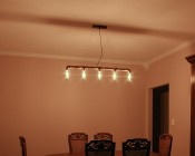LED Vintage Light Bulb - Radio Style T14 LED Bulb w/ Filament LED - Dimmable: Installed In Hanging Fixture At Full Brightness.