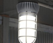 LED Vapor Proof Jelly Jar Light Fixture - Caged Ceiling Mount Light - 1,800 Lumens: Installed On Fence (Using Previous Junction Box)