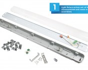 T8 LED Vapor Proof Light Fixture for 2 LED T8 Tubes - Industrial LED Light - 4' Long