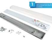 T8 LED Vapor Proof Light Fixture for 4 LED T8 Tubes - Industrial LED Light - 4' Long