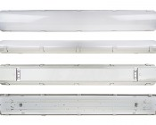 60W Vapor Tight Light Fixture - Industrial LED Light - 4' Long: Showing (From Top To Bottom) Top, Profile, Bottom, And Open Views.