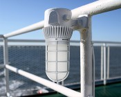 LED Vapor Proof Jelly Jar Light Fixture - Caged Ceiling Mount Light - 1,800 Lumens: Installed On Rail(Using Previous Junction Box)